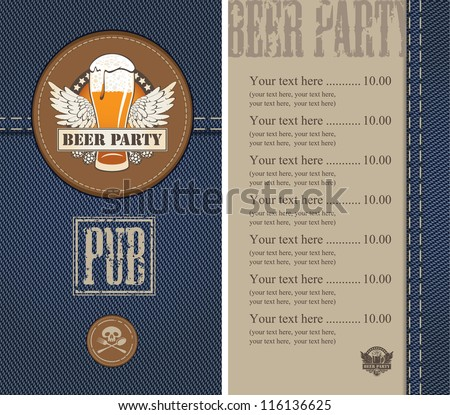 menu for a beer on a background of denim - stock vector