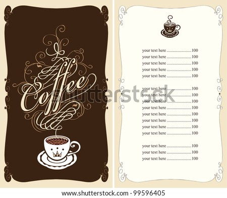 menu for a cafe on a black background