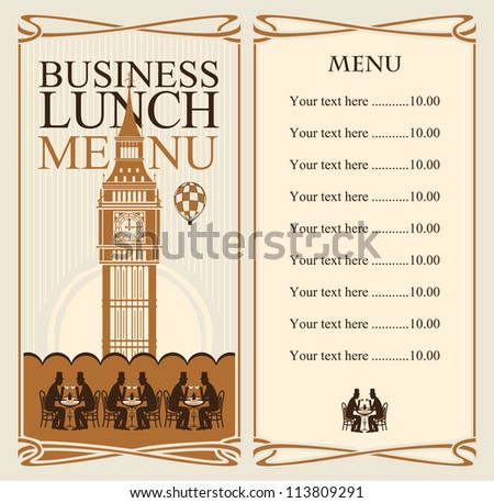 menu for business lunches with the Big Ben and gentlemen diners - stock vector