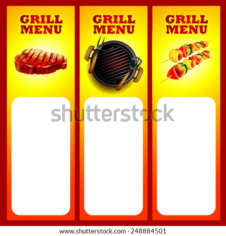menu for grill - stock vector