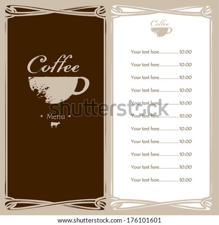 menu for the cafe with a cup of coffee