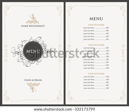 menu for the restaurant in retro style - stock vector