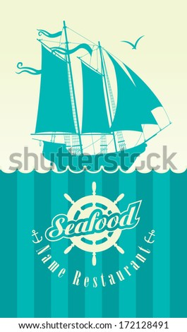 menu for the seafood restaurant with sailboat - stock vector