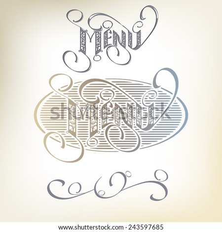 Menu headlines, hand lettering. - stock vector