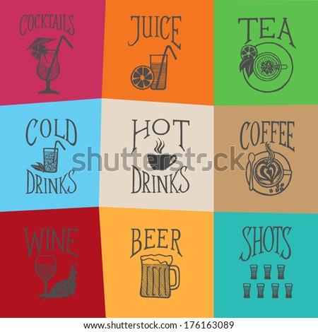 MENU ICON - Latino style Drinks colorful mosaic  - stock vector