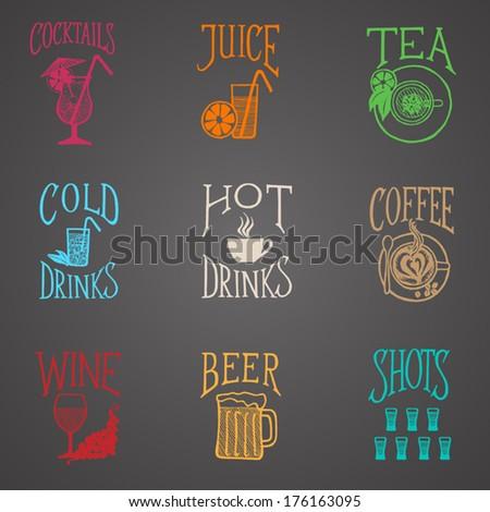 MENU ICON - Latino style Drinks colorful on blackboard - stock vector