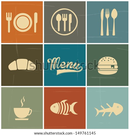 menu icons over colorful background vector illustration  - stock vector