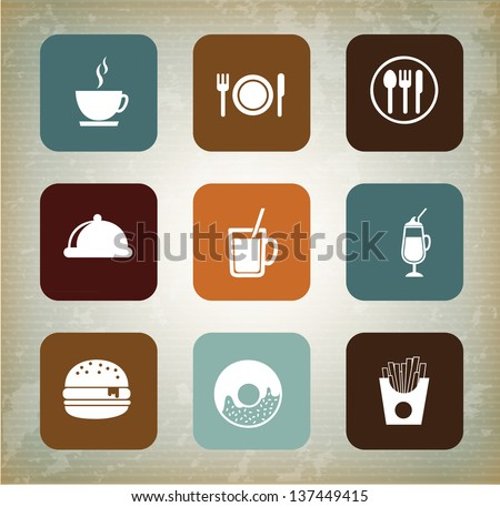 Menu icons over vintage background vector illustration - stock vector
