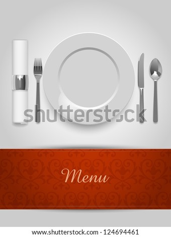 Menu illustration with plate and cutlery, eps10 vector - stock vector