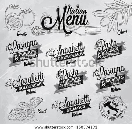 Menu Italian the names of dishes of spaghetti, lasagna, pasta carbonara, bolognese and other ingredients tomato, basil, olive to design a menu stylized drawing with coal  on a white blackboard. - stock vector