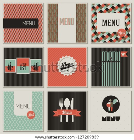 Menu label on a seamless background. Set of retro-styled illustrations. - stock vector