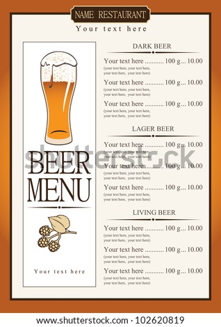 Beer Menu Design Template Vector Bar Stock Vector