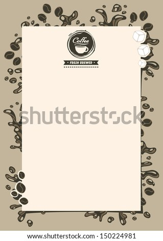 menu list for hot drinks with splashes of coffee - stock vector