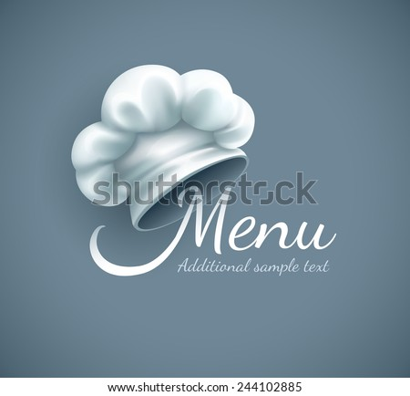Menu logo with chef cap. Eps10 vector illustration. Gradient mesh used - stock vector