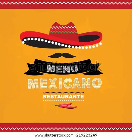 Menu mexican, template design.Vector illustration. - stock vector