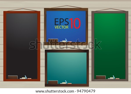menu on blank blackboard on brown wood background. Vector template for design work - stock vector
