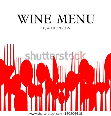 Menu or wine card with cutlery - illustration of template - stock vector