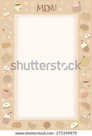 Menu page with hand drawn cups and bakery elements - stock vector