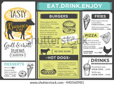 Restaurant brochure vector menu design vector stock vector for Restaurant brochure template