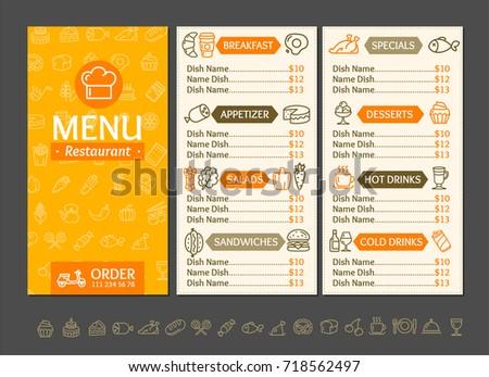 menu restaurant design template fast service stock vector royalty