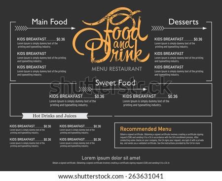 menu restaurant hipster style. - stock vector