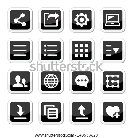 Menu settings tools icons set - stock vector