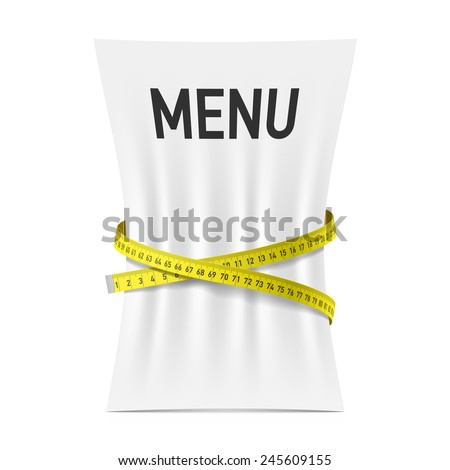 Menu squeezed by measuring tape, diet theme concept. Vector. - stock vector