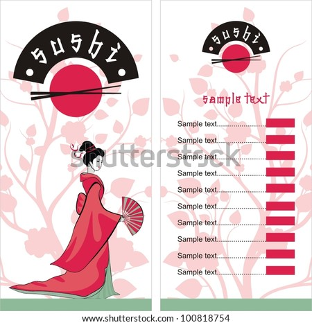 Menu. Sushi girl in asian style. vector background