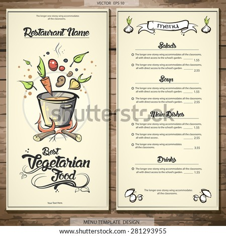 Menu template design. Vegetarian food. Vecor EPS 10 - stock vector