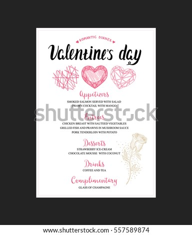 Menu Template For Valentine Day Dinner. Flyer With Hand Drawn Graphic  Elements In Doodle  Dinner Menu Template Free