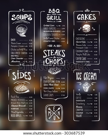 Menu template. White drawing on dark background. Soups, sides, bbq & grill, steaks & chops, cakes, ice cream - stock vector