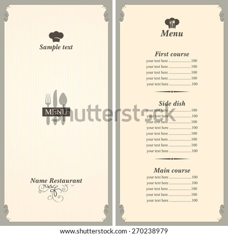 menu template with cutlery fork, spoon and knife - stock vector