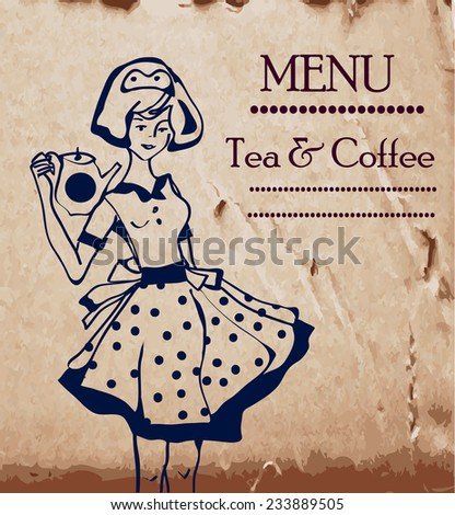 Menu template with retro waitresses and coffee or tea pot - stock vector