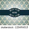 Menu. Vintage card with  frame on seamless damask wallpaper, Can be used as invitation etc - stock vector