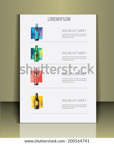 Menu with a bottle of wine. Wine list. - stock vector