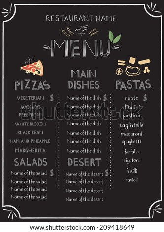 Menu with hand lettering, template   - stock vector
