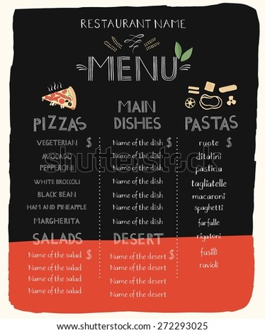 Menu with hand lettering, template. - stock vector