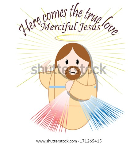 Merciful Jesus, white background. - stock vector