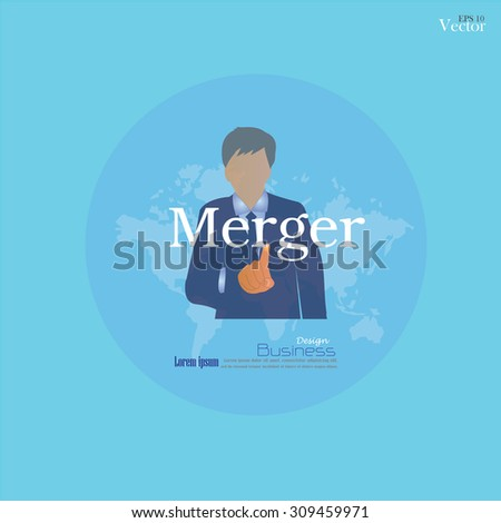 merger acquisition concept. merger acquisition. Man point to merger .vector illustration. - stock vector