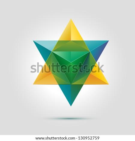 Merkaba or star of David, vector illustration - stock vector