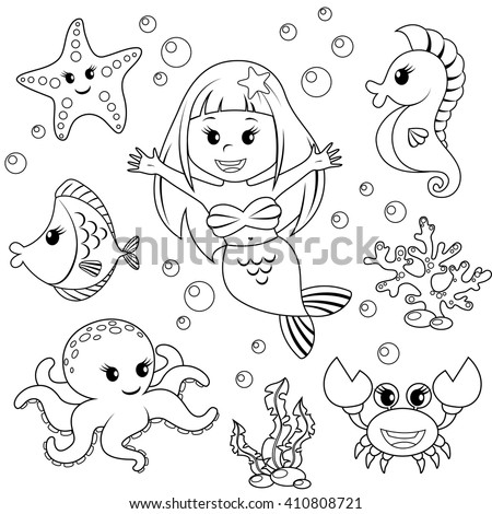Mermaid and sea animals. Fish, starfish, octopus, seahorse. Black and white vector illustration for coloring book - stock vector