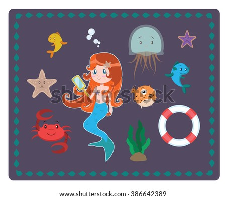 Mermaid and sea elements