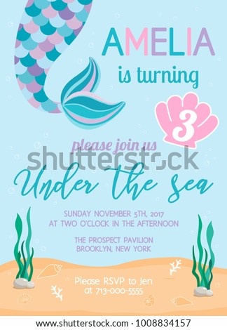 Mermaid birthday invitation under sea theme stock vector 1008834157 mermaid birthday invitation under the sea theme party vector illustration background with seashells stopboris
