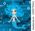 Mermaid cartoon. vector - stock vector