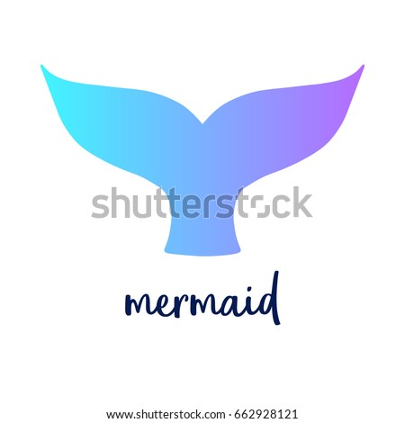 Mermaid Colorful Tail Writing Vector Illustration Stock Vector ...