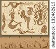 mermaid engraving set - stock vector