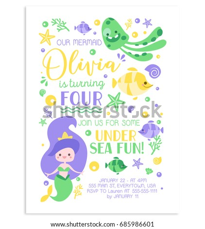 Mermaid invitation lovely vector card stock vector 2018 685986601 mermaid invitation lovely vector card stopboris Gallery