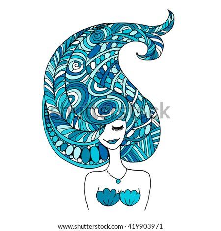 Mermaid portrait, zentangle sketch for your design - stock vector