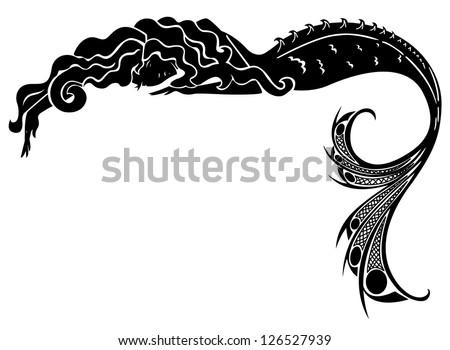 mermaid vector silhouette - stock vector