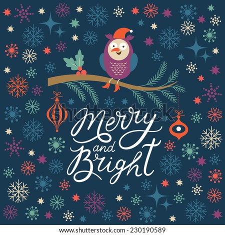 Merry and Bright lettering, Christmas illustration - stock vector